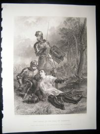 Military 1873 Steel Engraving. Death of the Earl of Warwick